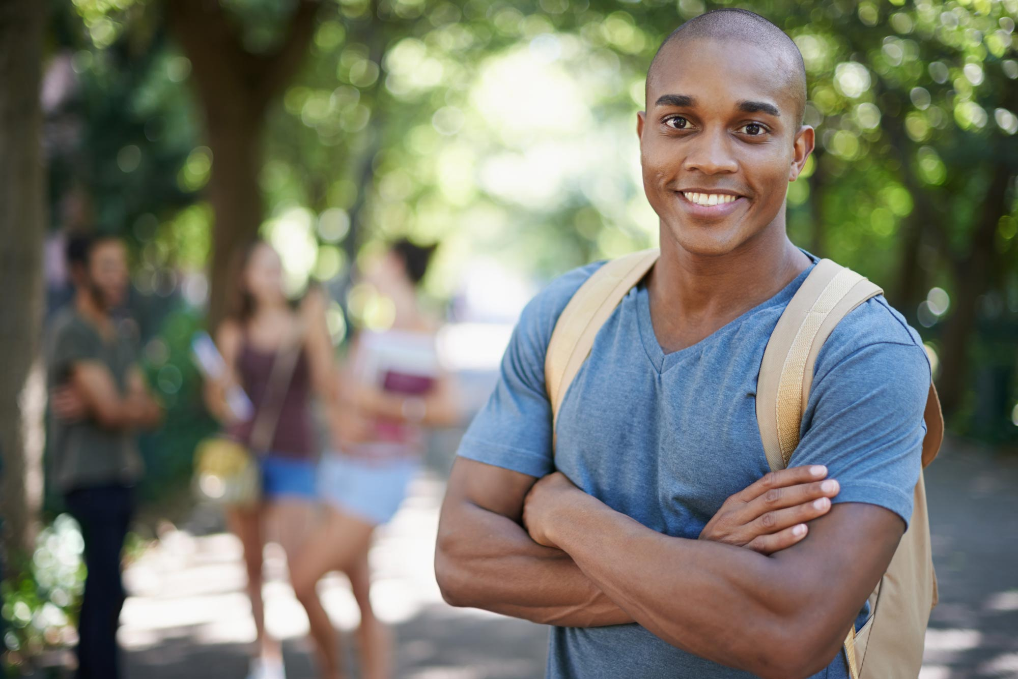 Black male student on campus